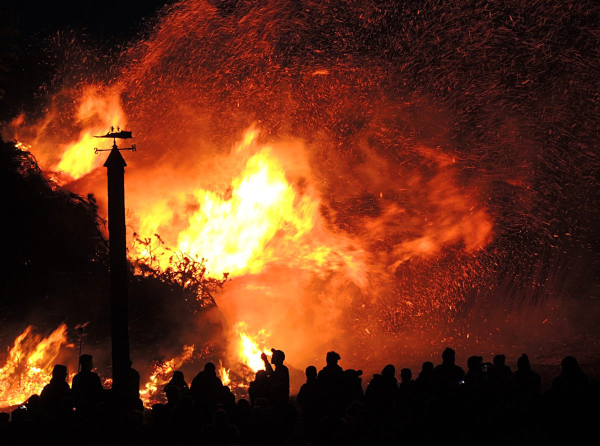 People near forest fire