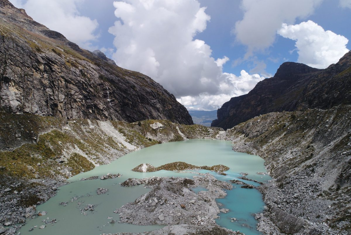 View of Llaca Lake, in Peru, taken from an un-crewed aerial vehicle.